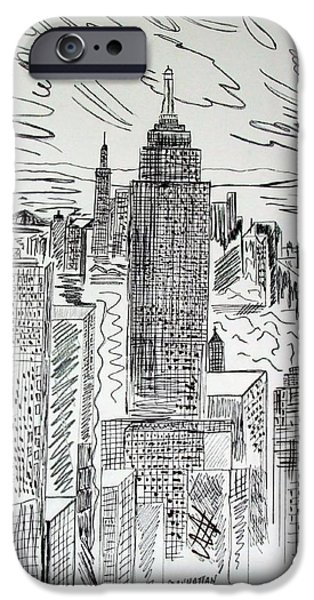 Built Structure iPhone Cases - Manhattan iPhone Case by Janice Rae Pariza