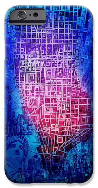Empire State iPhone Cases - Manhattan Map Abstract 5 iPhone Case by MB Art factory