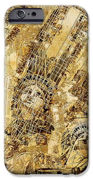 Empire State iPhone Cases - Manhattan Map Antique iPhone Case by MB Art factory