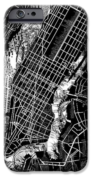 Empire State iPhone Cases - Manhattan Map Black And White iPhone Case by MB Art factory