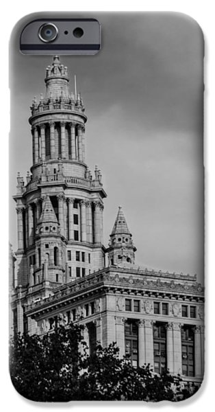 Recently Sold -  - United States iPhone Cases - Manhattan Municipal Building BW iPhone Case by Susan Candelario