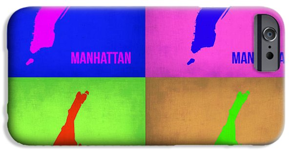 Manhattan iPhone Cases - Manhattan Pop Art Map 1 iPhone Case by Naxart Studio
