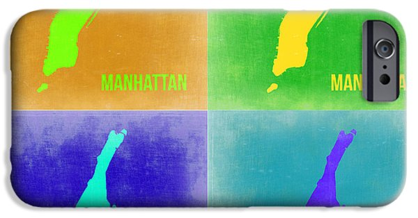 Manhattan iPhone Cases - Manhattan Pop Art Map 2 iPhone Case by Naxart Studio