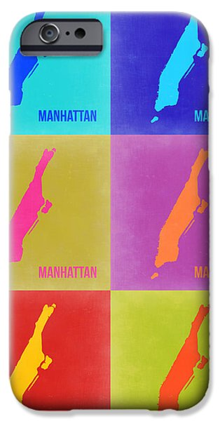 Manhattan iPhone Cases - Manhattan Pop Art Map 3 iPhone Case by Naxart Studio