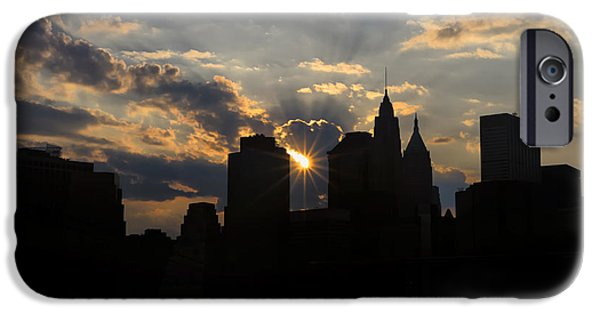 Empire State iPhone Cases - Manhattan skyline at sunset iPhone Case by Eduard Moldoveanu