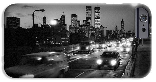 Twin Towers Nyc iPhone Cases - Manhattan skyline dusk 1980s iPhone Case by Gary Eason