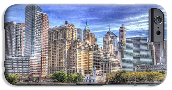 Hudson River iPhone Cases - Manhattan Skyline from Hudson River iPhone Case by Juli Scalzi