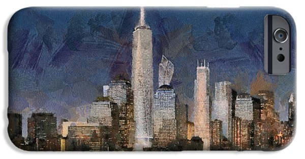 Twin Towers Nyc Paintings iPhone Cases - Manhattan skyline iPhone Case by Georgi Dimitrov