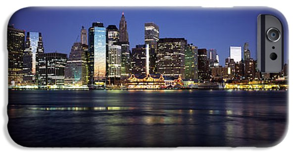 Built Structure iPhone Cases - Manhattan Skyline Seen From Fulton iPhone Case by Panoramic Images