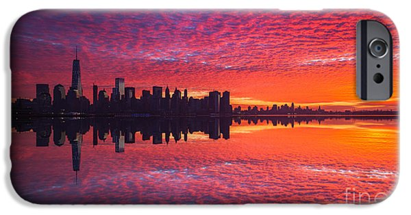Twin Towers Nyc iPhone Cases - Manhattan Sunrise Version 2  iPhone Case by Michael Ver Sprill