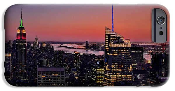 Red Rock iPhone Cases - Manhattan Sunset iPhone Case by Susan Candelario