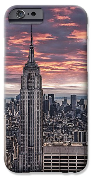 Manhattan under a red sky iPhone Case by Joachim G Pinkawa