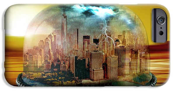 Skyscraper Mixed Media iPhone Cases - Manhattan Under the Dome iPhone Case by Marian Voicu