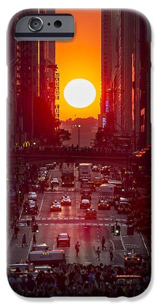42nd Street iPhone Cases - Manhattanhenge iPhone Case by Eduard Moldoveanu