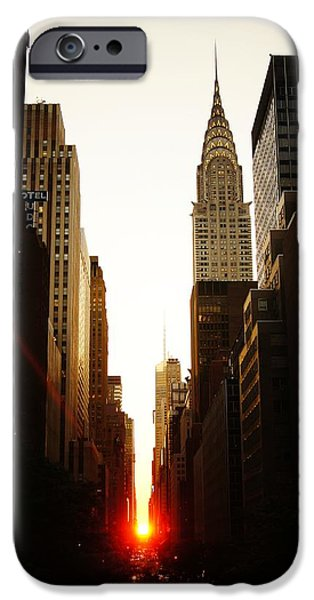 Urban Art iPhone Cases - Manhattanhenge Sunset and the Chrysler Building  iPhone Case by Vivienne Gucwa