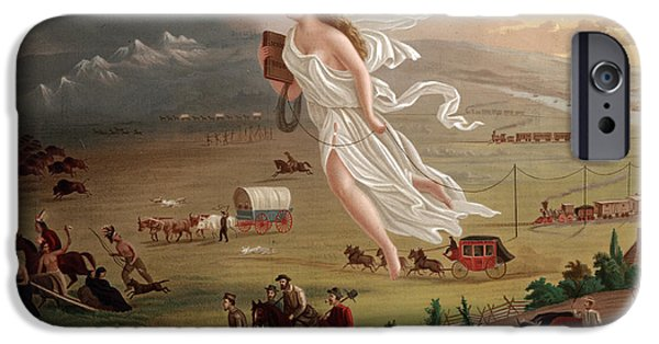 Destiny Photographs iPhone Cases - Manifest Destiny 1873 iPhone Case by Photo Researchers