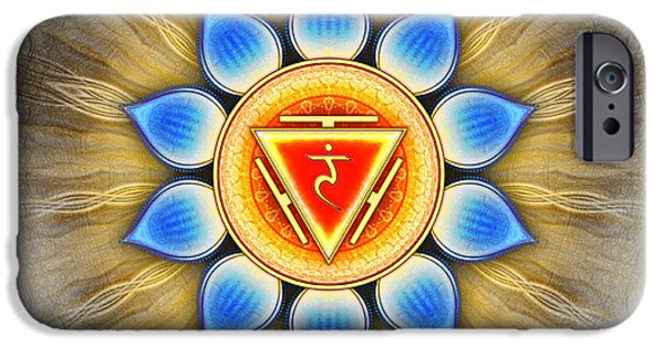 Healing Posters iPhone Cases - Manipura Chakra Series IV iPhone Case by Dirk Czarnota