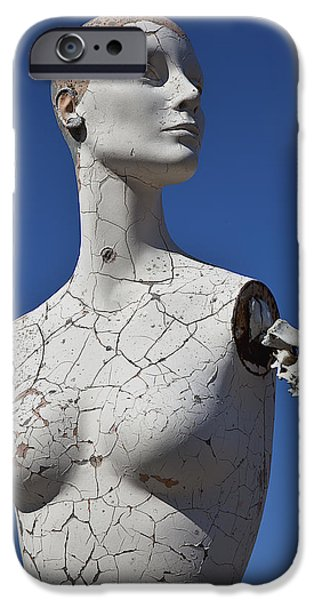 Chip iPhone Cases - Mannequin Against blue Sky iPhone Case by Garry Gay