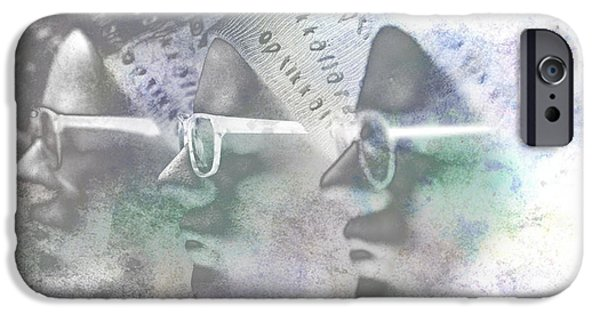 Statue Portrait iPhone Cases - Mannequin With Glasses In Digital Art iPhone Case by Toppart Sweden