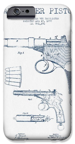 Weapon iPhone Cases - Mannlicher Pistol Patent Drawing from 1897  -  Blue Ink iPhone Case by Aged Pixel