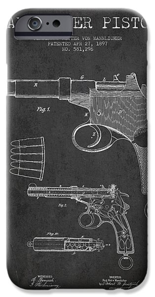 Weapon iPhone Cases - Mannlicher Pistol Patent Drawing from 1897 - Dark iPhone Case by Aged Pixel