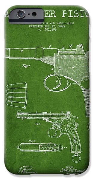 Weapon iPhone Cases - Mannlicher Pistol Patent Drawing from 1897 - Green iPhone Case by Aged Pixel