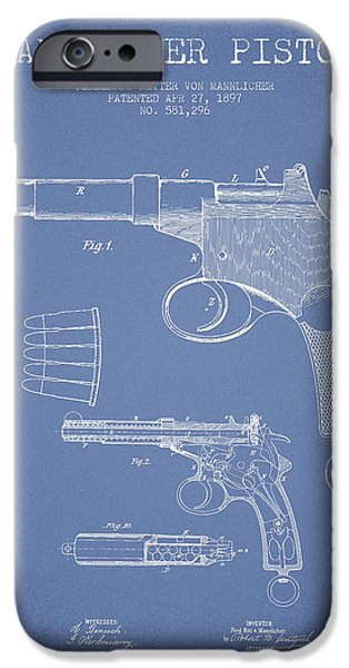 Weapon iPhone Cases - Mannlicher Pistol Patent Drawing from 1897 - Light Blue iPhone Case by Aged Pixel