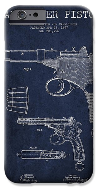 Weapon iPhone Cases - Mannlicher Pistol Patent Drawing from 1897 - Navy Blue iPhone Case by Aged Pixel