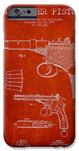 Weapon iPhone Cases - Mannlicher Pistol Patent Drawing from 1897 - Red iPhone Case by Aged Pixel
