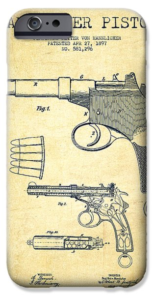 Weapon iPhone Cases - Mannlicher Pistol Patent Drawing from 1897 - Vintage iPhone Case by Aged Pixel