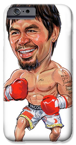 Boxer Paintings iPhone Cases - Manny Pacquiao iPhone Case by Art