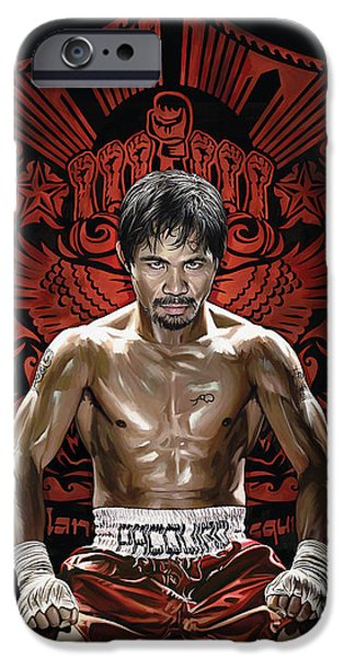 Sport Portraits Mixed Media iPhone Cases - Manny Pacquiao Artwork 1 iPhone Case by Sheraz A