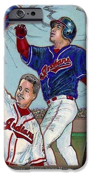 Baseball Uniform Mixed Media iPhone Cases - Manny Ramirez  being Manny  iPhone Case by Ray Tapajna