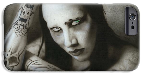 Musician Art iPhone Cases - Manson III iPhone Case by Christian Chapman Art