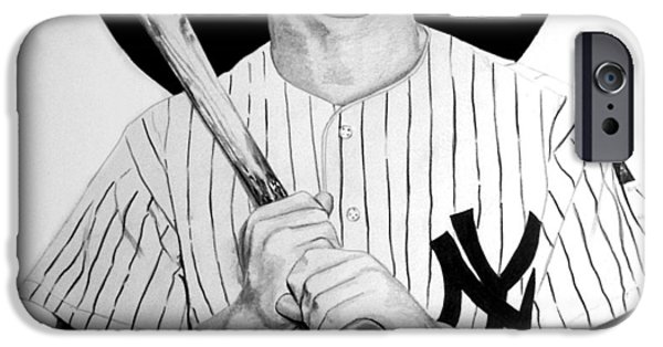 Baseball Uniform Drawings iPhone Cases - Mantle The Man iPhone Case by Londie Benson