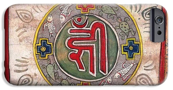 Hindu Goddess iPhone Cases - Mantra Calligraphy Antique Vintage Artwork Art Gallery India iPhone Case by A K Mundhra
