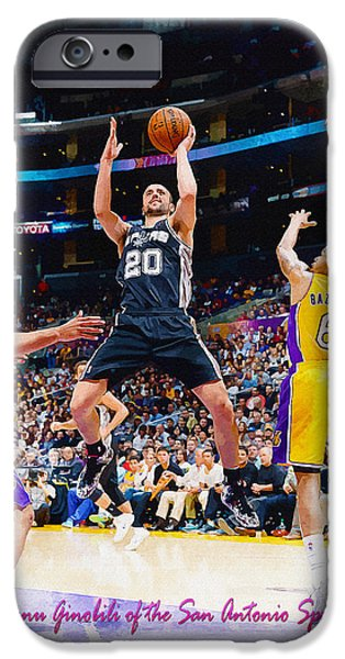Dunk iPhone Cases - Manu Ginobili of the San Antonio Spurs iPhone Case by Don Kuing