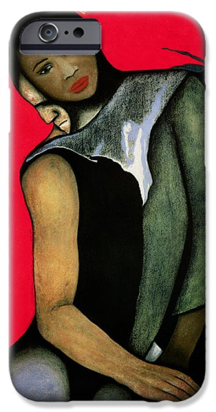 Psychology iPhone Cases - Manwoman And A Red Horse, 1999 Pastel On Paper iPhone Case by Stevie Taylor