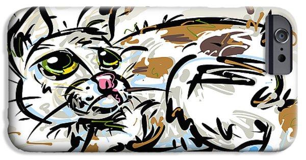 Animal Drawings iPhone Cases - Manx Cat iPhone Case by Brett LaGue