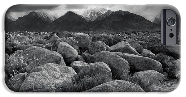 Pm iPhone Cases - Manzanar Boulders 3 iPhone Case by Don Hall