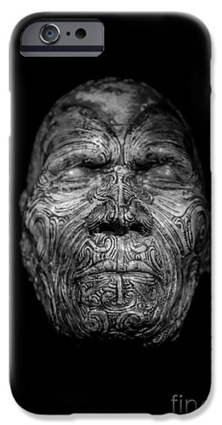 Masks iPhone Cases - Maori Tatoo Man Face Mask iPhone Case by Edward Fielding