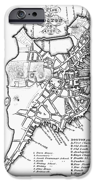 City. Boston iPhone Cases - Map: Boston, 1722 iPhone Case by Granger