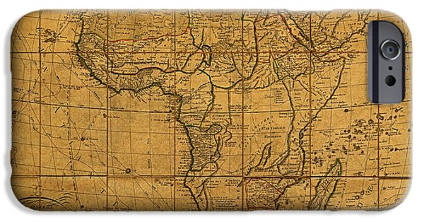 Continent iPhone Cases - Map of Africa Circa 1829 on Worn Canvas iPhone Case by Design Turnpike