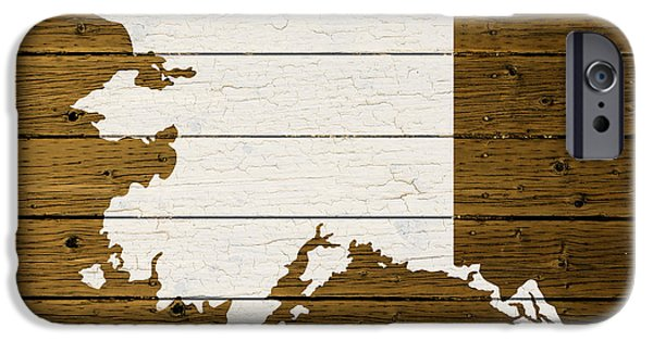 Alaska Mixed Media iPhone Cases - Map Of Alaska State Outline White Distressed Paint On Reclaimed Wood Planks. iPhone Case by Design Turnpike