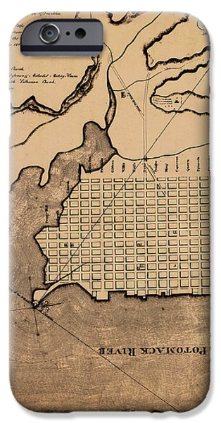 Alexandria iPhone Cases - Map of Alexandria 1798 iPhone Case by Andrew Fare