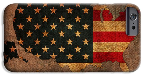 America iPhone Cases - Map of America United States USA With Flag Art on Distressed Worn Canvas iPhone Case by Design Turnpike