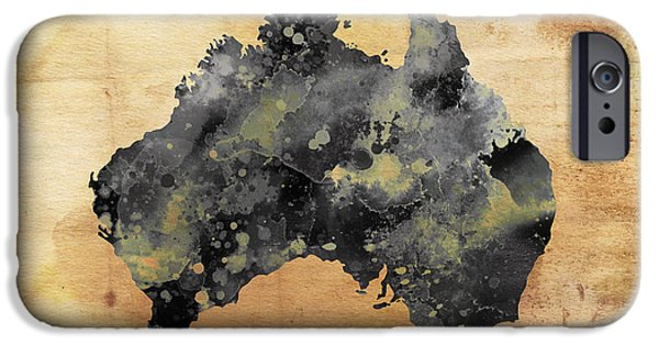 Koala Digital Art iPhone Cases - MAP of AUSTRALIA GRUNGE iPhone Case by Daniel Hagerman