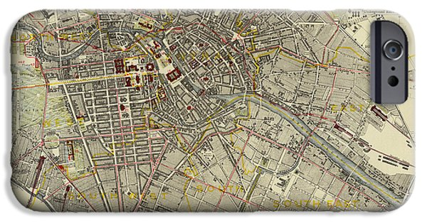 Map Of Germany iPhone Cases - Map of Berlin 1883 iPhone Case by Andrew Fare
