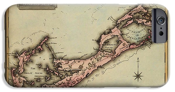 Bermudas iPhone Cases - Map of Bermuda 1823 iPhone Case by Andrew Fare