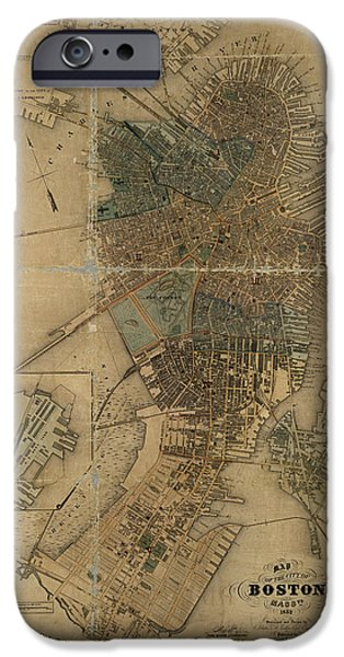 Map Of Boston iPhone Cases - Map of Boston 1852 iPhone Case by Andrew Fare
